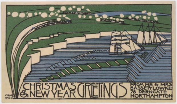 Christmas card designed by Charles Rennie Mackintosh for Bassett-Lowke in 1922. The trains and ships refer to the Bassett-Lowkes model toy business.