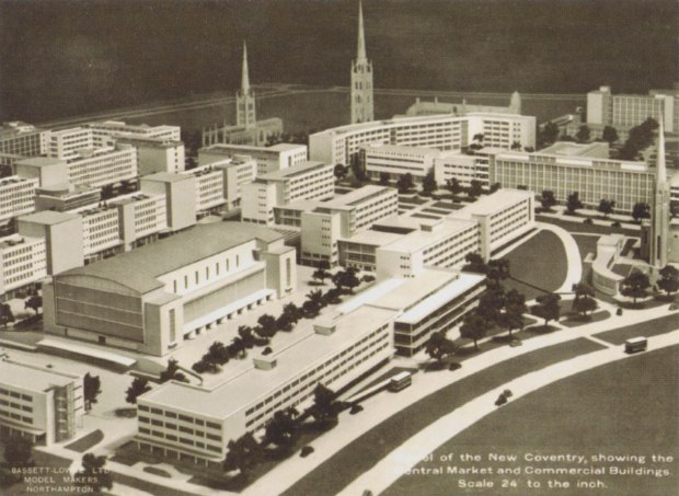 Bassett-Lowke's model of the proposed new city of Coventry in 1943. The photo caption reads: