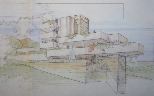 The watercolour sketch by Frank Lloyd Wright of the residence (cottage!) he designed for Ayn Rand, but which was never built.