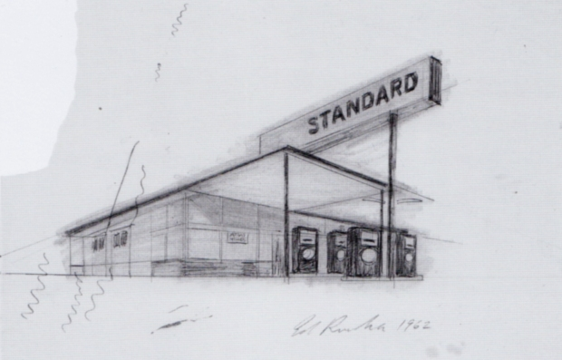 Ed Ruscha Gas Station Drawing