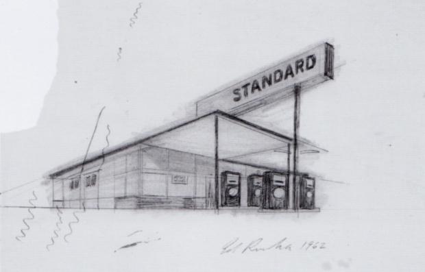 Ed Ruscha Gas Station Drawing