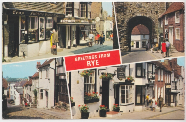 Postcard of Rye, East Sussex.  The bottom right frame shows East Street.