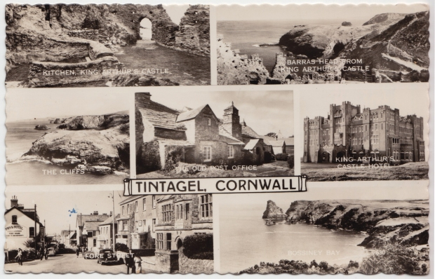 Postcard of Tintagel, Cornwall, with Fore Street shown in the bottom left frame (sent 1959).