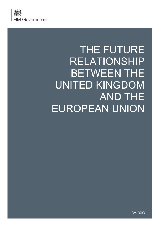 The front page of the UK HM Government's Brexit Proposal